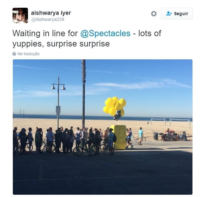 Usuário comenta o início das vendas do Spectacles no Twitter (Foto: Reprodução/Twitter)