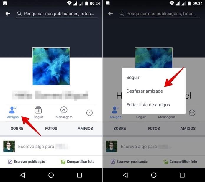 Removendo um amigo do Facebook no celular Android (Foto: Reprodução/Helito Bijora)