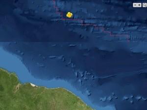 Epcientro do terremo, marcado em amarelo, ocorreu a 1,2 mil quilômetros do litoral cearense (Foto: LabSis/Divulgação)