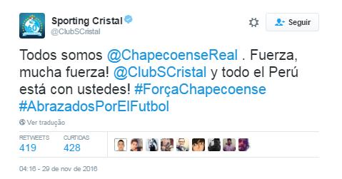 Sporting Cristal Chape (Foto: Twitter)