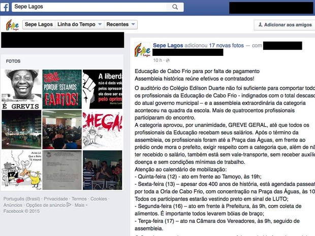 Greve da Educação em Cabo Frio (Foto: Reprodução/ Facebook)
