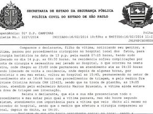 Família de paciente registrou Boletim de ocorrência em Campinas (Foto: Samuel Gomes/ Arquivo Pessoal)