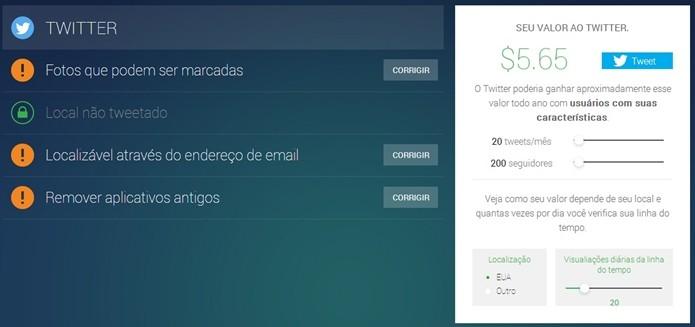 PrivacyFix agora analise valor do usuário do Twitter (Foto: Reprodução/Raquel Freire)