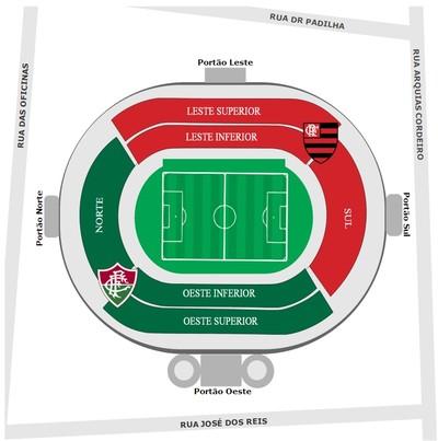 Confira a divisão das torcidas na decisão da Taça Guanabara (Foto: Reprodução)