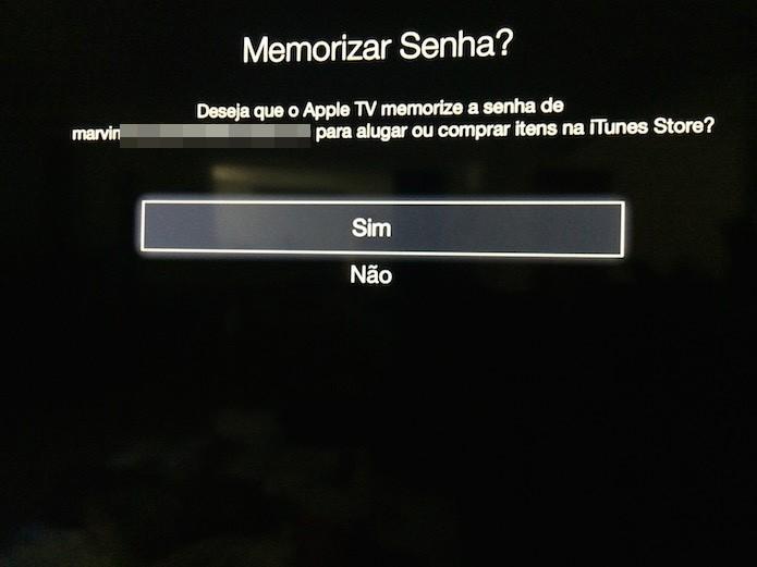 Memorizando a senha da ID da Apple americana na Apple TV (Foto: Reprodução/Marvin Costa)
