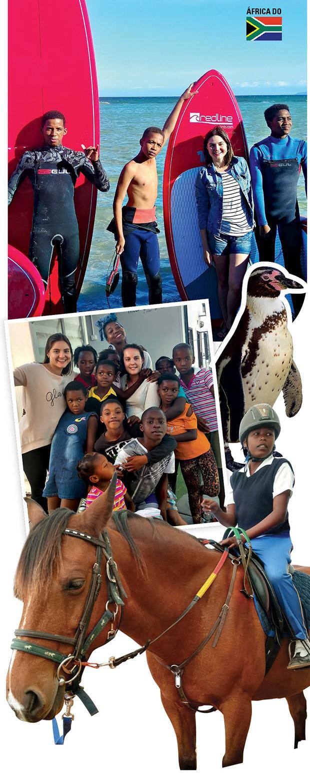 """Esses são alguns dos meninos estilosos do 9 Miles Project, onde crianças entre 9 e 14 anos têm ajuda com lição de casa, computação, esportes e aulas de surf. Happy Feet  O projeto Sanccob resgata, trata e devolve à natureza 2.500 aves por ano, sendo mil pinguins! O projeto Ubuntu (que significa """"eu sou, porque você é"""") é uma creche para cem crianças, muitas com HIV. Lá, é possível ajudar com brincadeiras, leitura, jardinagem e trabalhos manuais. A estada é na descolada  casa de voluntariado Yoga Shala. Os voluntários que gostam de cavalos podem atuar no projeto Healing through Horses, que oferece aulas de equitação e fisioterapia a crianças deficientes (Foto: .)"""
