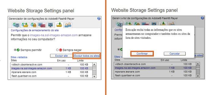 O usuário pode apagar todo o cache de sites salvos no Flash Player (Foto: Reprodução/Barbara Mannara)