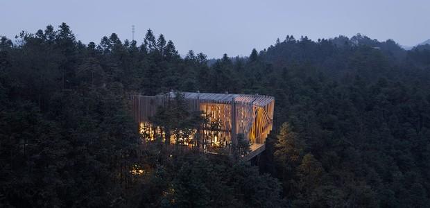 Casa na árvore tem telhado invertido em formato de M (Foto: Bowen hou/Divulgação)