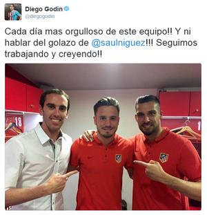 Godin Saul Atlético de Madrid (Foto: Reprodução/Twitter)