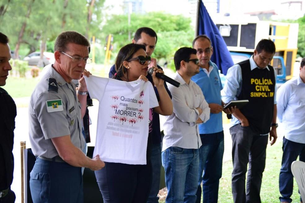 Servidores da Segurança do RN fazem protesto pela morte de 14 policiais militares (Foto: Divulgação/ Sinpol)