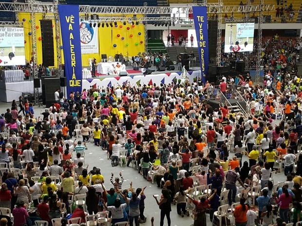 Católicos participam da 30ª edição do Rebanhão em Brasília (Foto: Raquel Morais/G1)