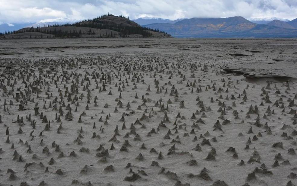A falta de água deixou exposto o leito do rio (Foto: Jim Best/Universidade de Illinois)