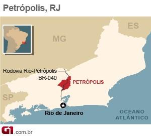 Mapa - Petr�polis - VALE ESTE (Foto: Arte/G1)