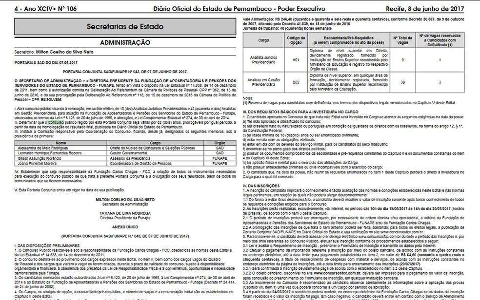Foi publicado o edital de abertura do concurso público para atuar na Fundação de Aposentadorias e Pensões dos Servidores do Estado de Pernambuco (Funape) (Foto: Reprodução/Diário Oficial)