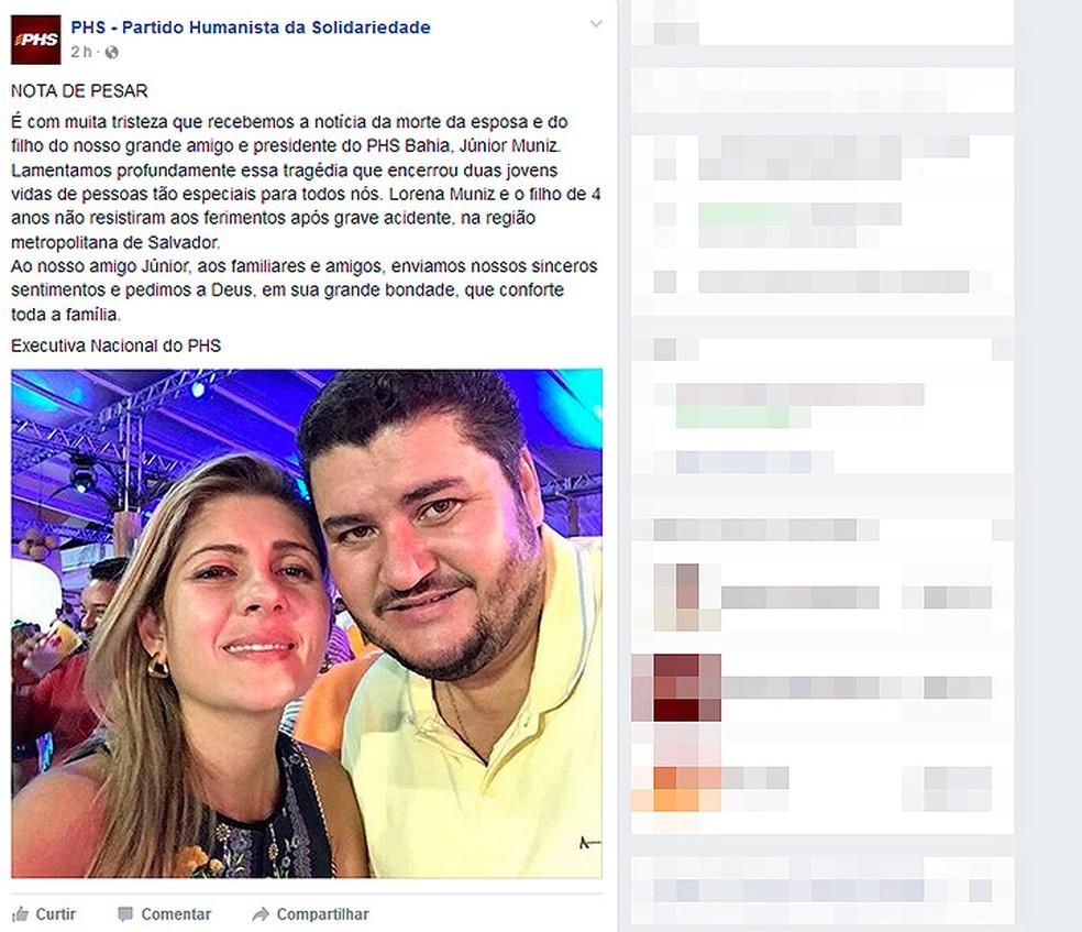 Partido divulgou nota de pesar pelas mortes da mulher e do filho do presidente do PHS na Bahia (Foto: Reprodução/ Facebook)