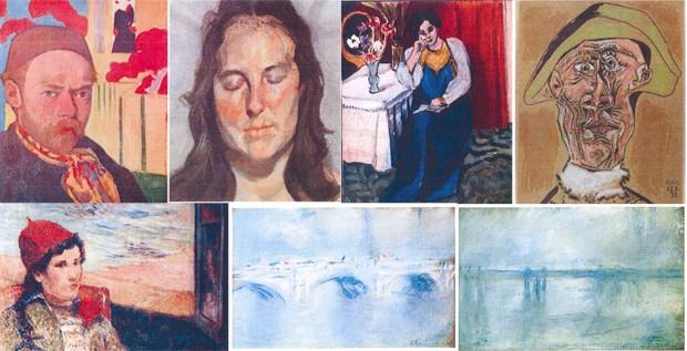 Quadros de Meyer de Haan, Lucian Freud, Henri Matisse, Pablo Picasso, Paul Gauguin e Claude Monet que foram roubados do museu Kunsthal em Roterdã, na Holanda, nesta terça-feira (16) (Foto: Reprodução/AFP/Polícia holandesa)