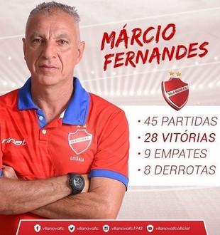 Márcio Fernandes completa um ano no Vila Nova (Foto: Comunicação / Vila Nova)