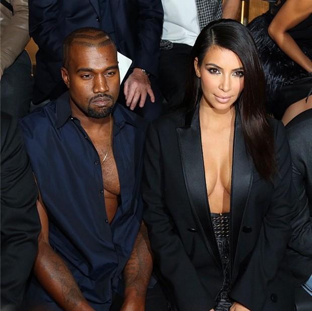 Kim e Kanye decotados na Lanvin. (Foto: Reproduo / Instagram)