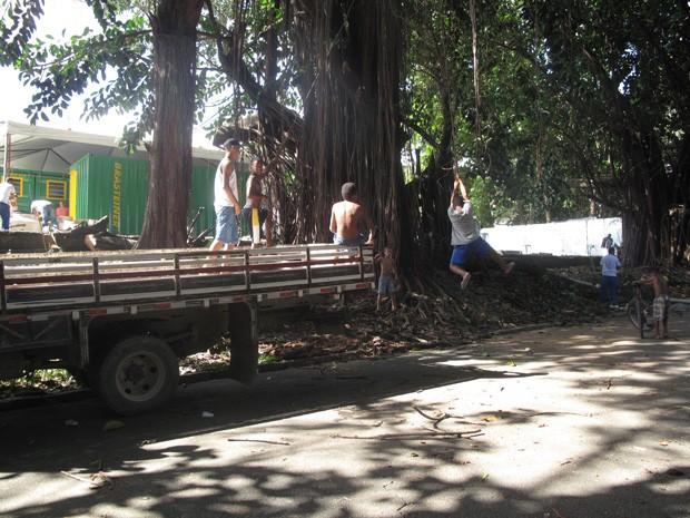 Meninos bricam de pular cipó em frente ao local onde ficará alojamento dos índios (Foto: João Bandeira de Mello/G1)
