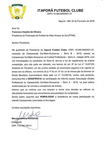 Carta de desistência do Itaporã (Foto: Reprodução)