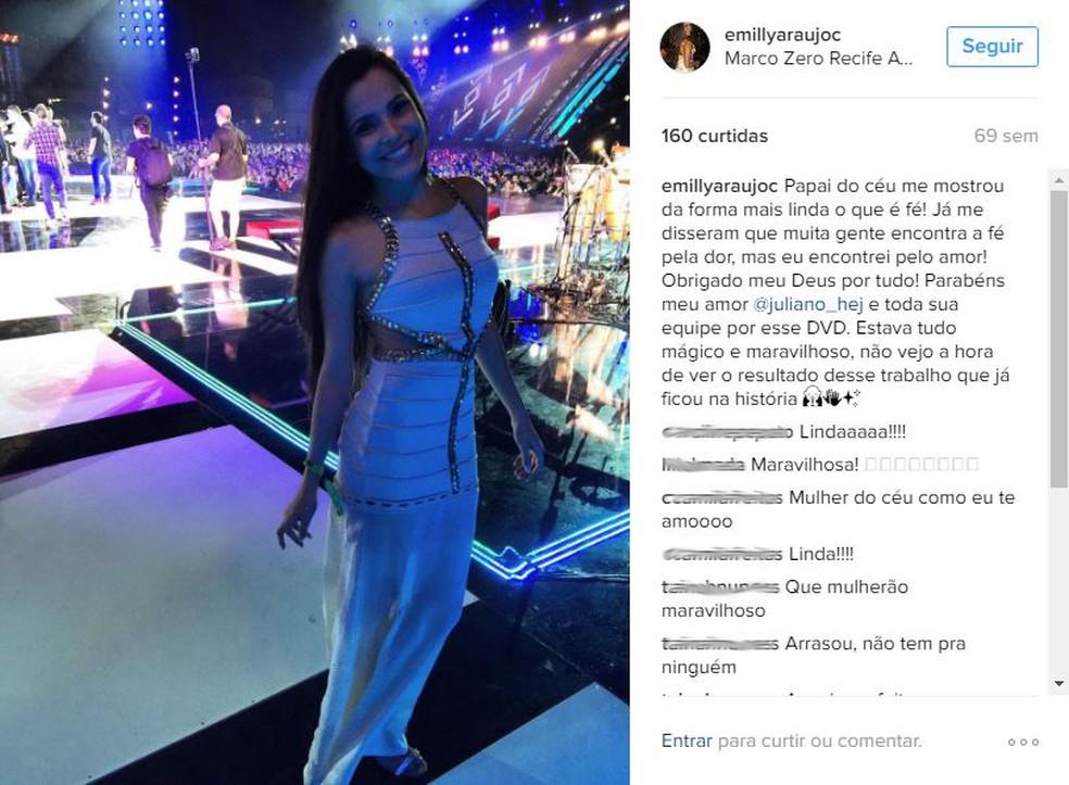 Emilly faz post para Juliano (Foto: Arquivo pessoal)