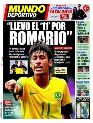 Capa do Mundo Deportivo com Neymar sobre a camisa 11 de Romário (Foto: Reprodução)