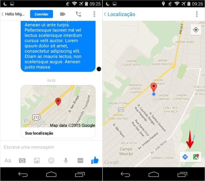 É possível abrir a localização no Google Maps (Foto: Reprodução/Helito Bijora)
