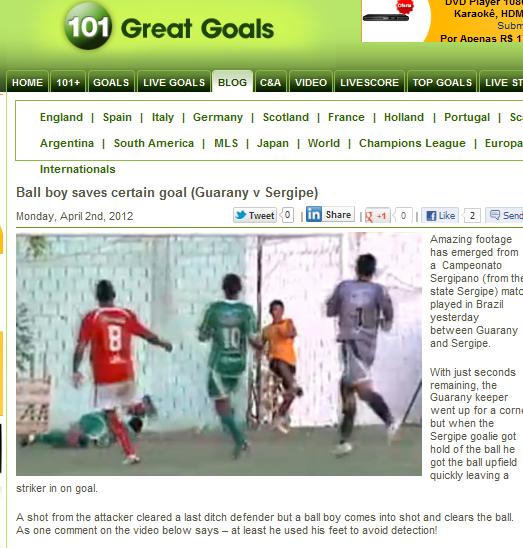 101 Great Goals destaca 'façanha' de Rinha (Foto: Reprodução)
