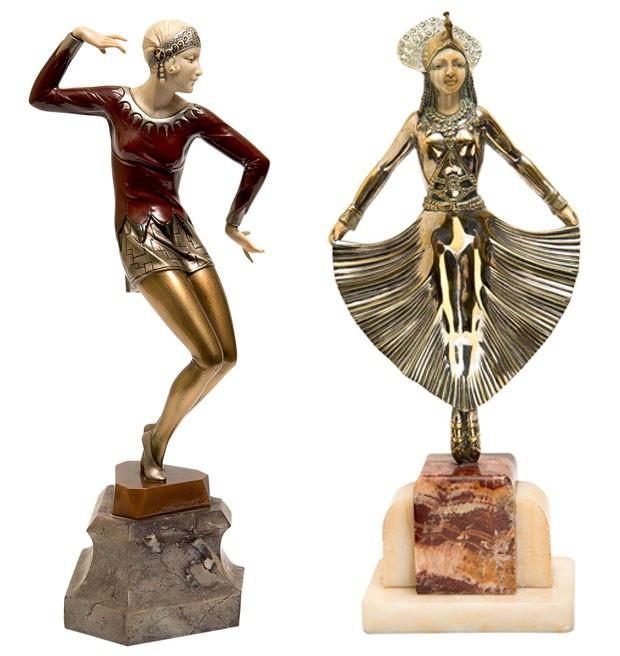 Esculturas The Red Dancer, de Ferdinand Preiss, e Egyptian Dancer, de G. Gori, ambas de bronze e marfim (Foto: divulgação)