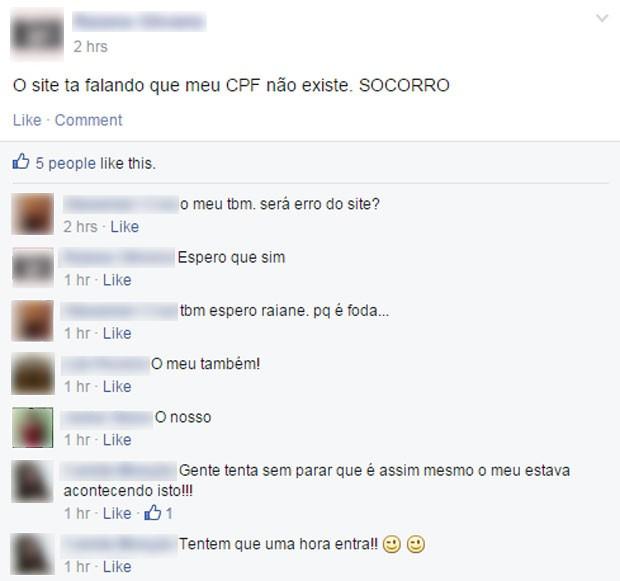 Em um grupo no Facebook, candidatos buscaram ajuda na hora em que encontraram o mesmo erro (Foto: Reprodução/Facebook)