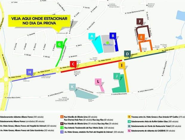 Pontos de estacionamento no entorno do percurso da Volta das Nações 2012 (Foto: Divulgação/Fiems)