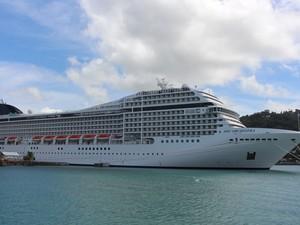 Navio MSC atracado no Porto de Castries, em Santa Lucia (Foto: Orion Pires / G1)
