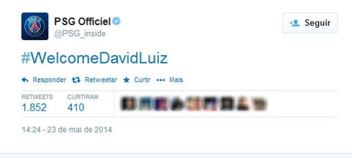 PSG Boas-Vindas David Luiz (Foto: Reprodução / Twitter)
