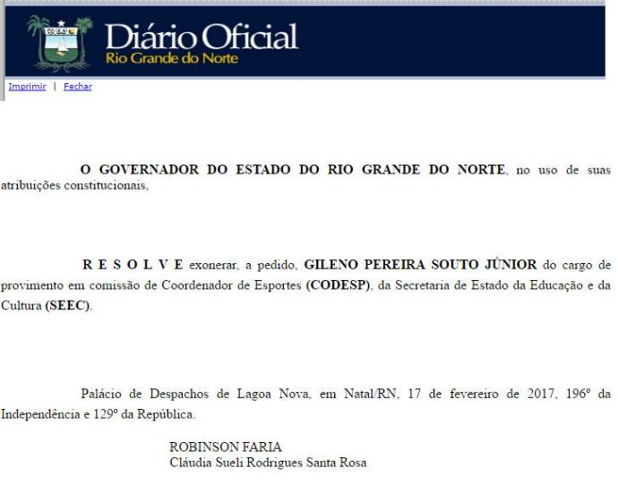 BLOG: Governo exonera Gileno Souto e Codesp tem novo coordenador