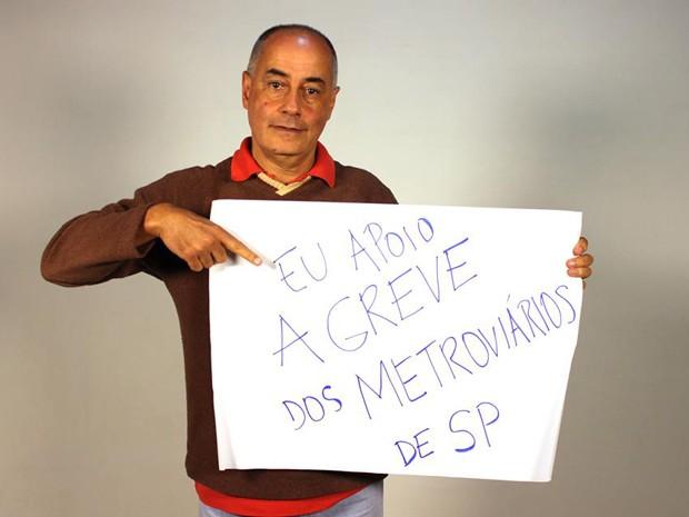 Zé Maria em retrato de apoio à greve dos metroviários (Foto: Divulgação)