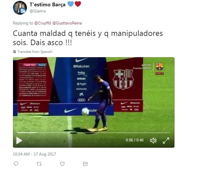 Post de torcedor mostrando Paulinho fazendo embaixadinha na apresentação ao Barcelona