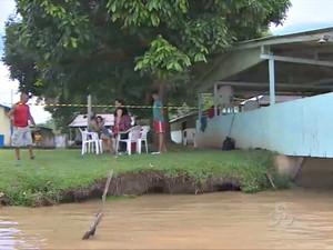 Restaurante na comunidade São Sebastião foi interditado pela Defesa Civil (Foto: Reprodução/TV Rondônia)