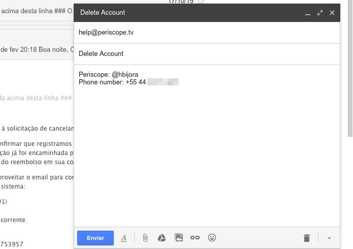 Enviando e-mail com os dados da conta para o Periscope (Foto: Reprodução/Helito Bijora)