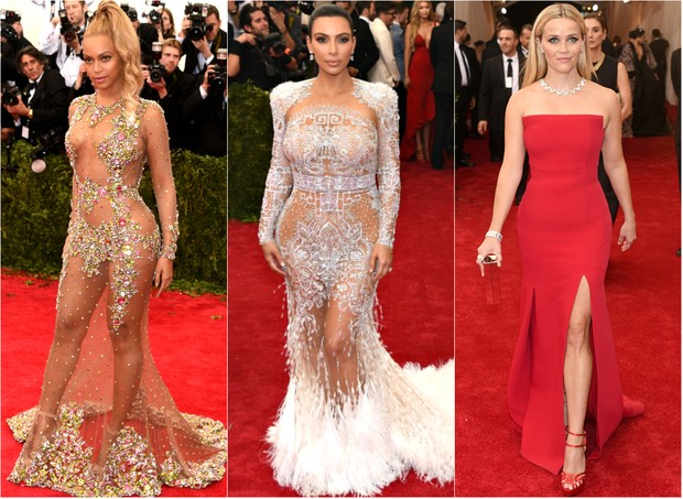 Beyoncé, Kim Kardashian e Reese Witherspoon no baile de gala do MET (Foto: Getty Images | AFP)