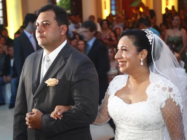 Maria Antonieta e Flavio da Silva no dia do casamento, em 2012 (Foto: Davi Ribeiro/A Tribuna de Santos)
