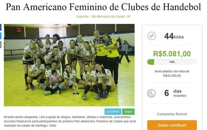 Anúncio em site pede ajuda para a viagem da equipe de São Bernardo (Foto  01c8032e37f3a