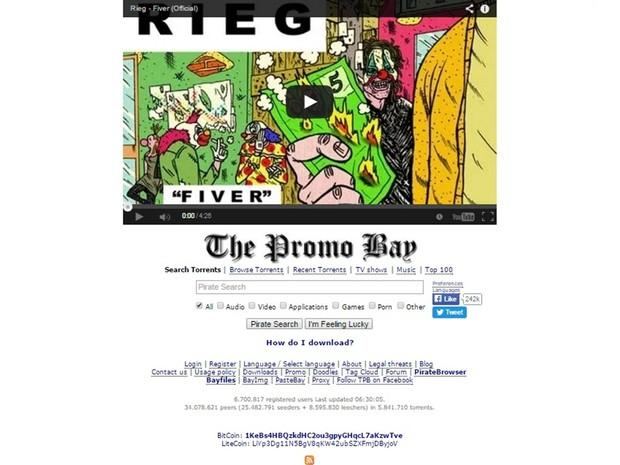 Vídeo da música Fiver, de Rieg, foi selecionado para ficar na capa do site The Pirate Bay em setembro de 2014 (Foto: Reprodução/The Pirate Bay)