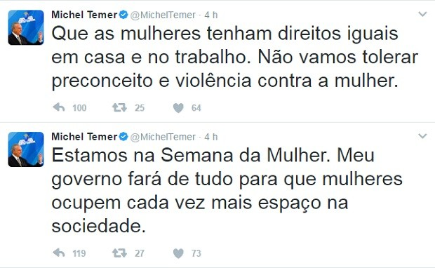 Após seu discurso em homenagem ao dia da mulher virar polêmica, Michel Temer usou sua conta no Twitter para defender igualdade entre homens e mulheres (Foto: Reprodução/Twitter)