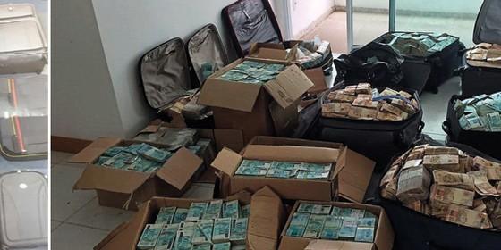 As nove malas apreendidas no bunker de Geddel Vieira Lima; e as malas cheias de dinheiro, na hora da apreensão (Foto: Reprodução)