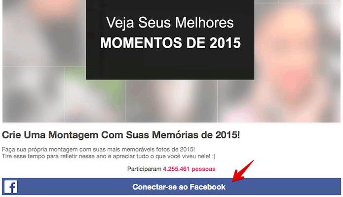 Conecte o site à sua conta do Facebook (Foto: Reprodução/Helito Bijora)