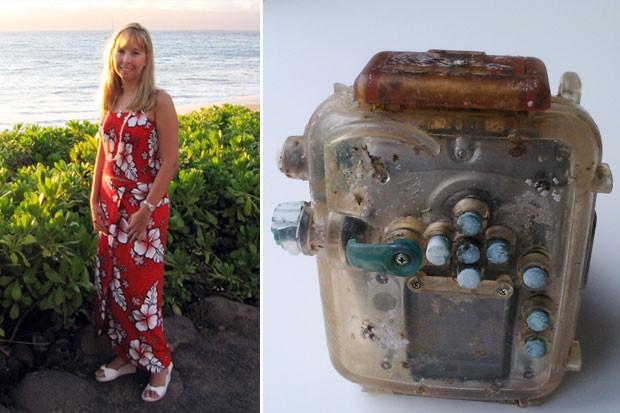 Câmera da mergulhadora americana Lindsay Crumbley Scallan foi encontrada a 9.600 km de distância do Havaí, em Taiwan, do outro lado do Oceano Pacífico (Foto: AFP/China Airlines)