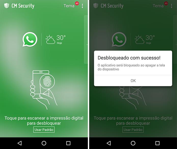 Use o sensor biométrico para liberar o acesso (Foto: Reprodução/Paulo Alves)