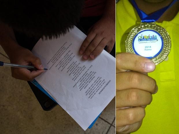 Interno fez um poema sobre como é viver na Fundação Casa e ganhou a medalha de ouro (Foto: Victor Moriyama/G1/ e Divulgação/Fundação Casa)