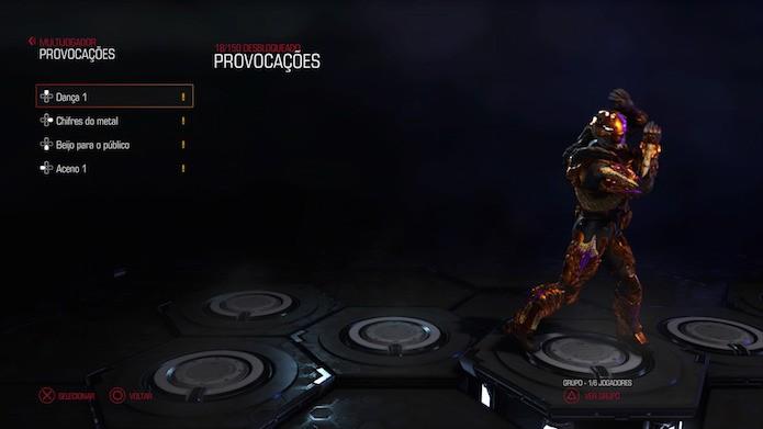 Doom: equipe provocações com danças e gestos para o multiplayer (Foto: Reprodução/Victor Teixeira)