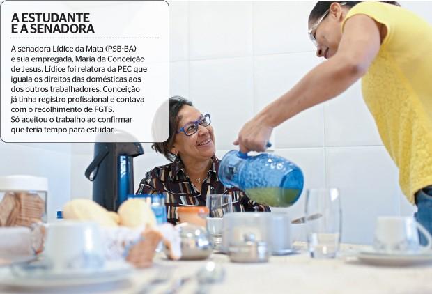 A estudante e a senadora (Foto: Celso Júnior/Época)
